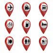3D red map pointer icons set for transport, hotels, food, and services — Stock Photo #73963373