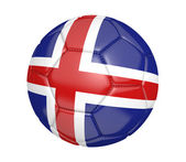 Soccer ball, or football, with the country flag of Iceland — Stock Photo