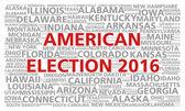 Облако слов выборы 2016 выборов президента Соединенных Штатов Америки — Стоковое фото