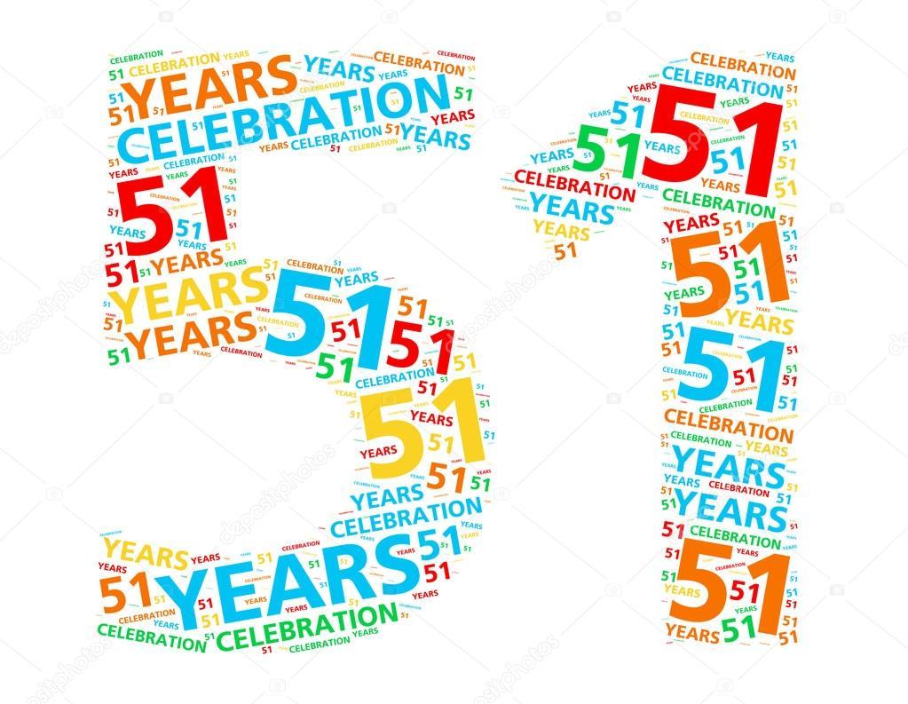 Kleurrijke Woord Wolk Voor Het Vieren Van Een 51 Jaar