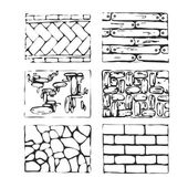 Hand drawn paving stones and blocks. — Stock Vector