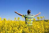 Happy man in rapseed plantation, freedom in rapseed plantation — Stock Photo