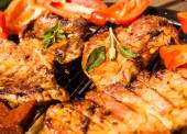 Grill, barbecue with meat and vegetables — Stock Photo