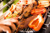 Grill with meat and vegetale — Foto Stock