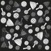 Baby stuff play black and white, vector, background — Stock Vector