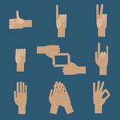 Set of popular human hand gestures — Stock Vector