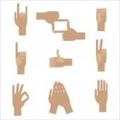 Set popular human hand gestures — Stock Vector
