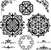 Set Kazakh Asian ornaments and patterns — Stock Vector