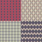 Set of four seamless patterns. Kazakh, Asian, floral, floral pat — Stock Vector