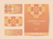 Set of business cards, invitations, and cards templates with lac — Stock Vector