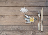 Three sardines, salt and fork with knife — Stock Photo