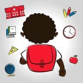 African American boy going to school — Stock Vector