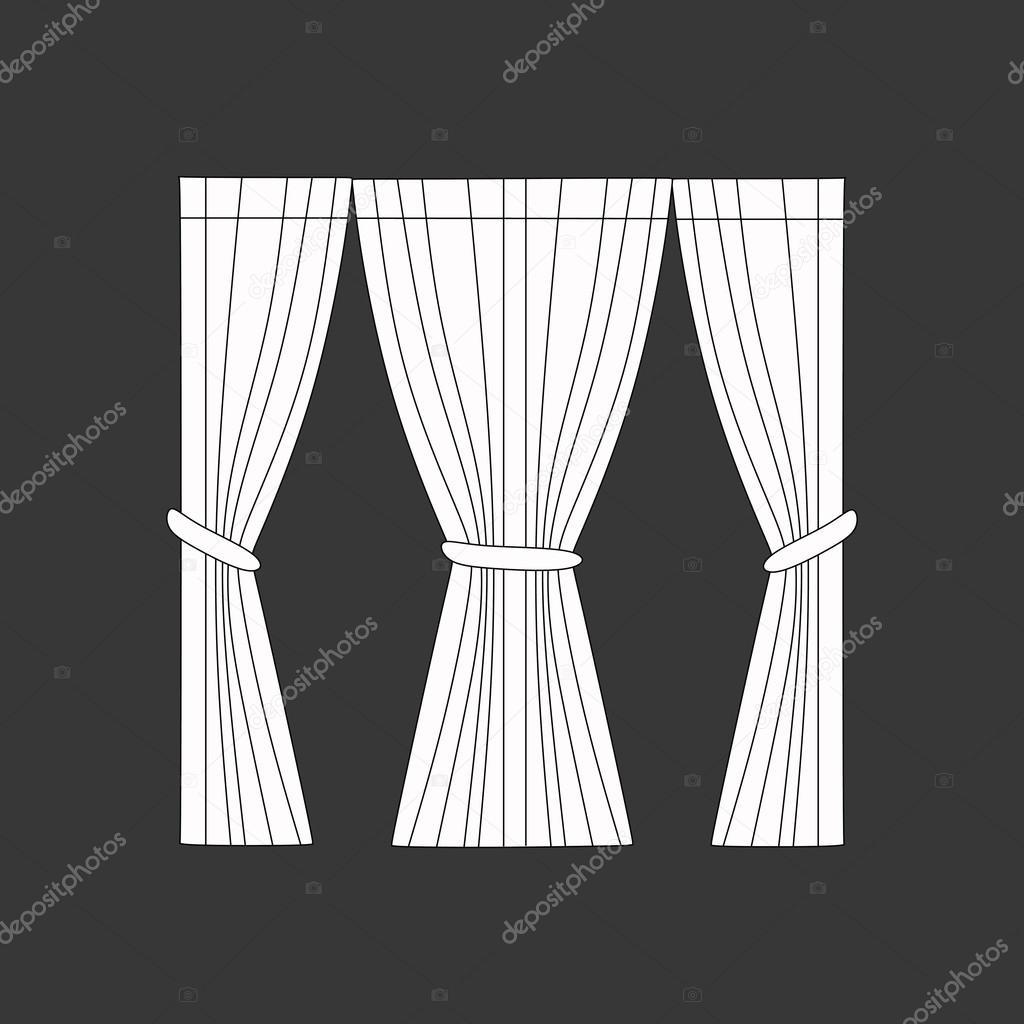 dekoration fenster gardinen skizze stockvektor 102857840. Black Bedroom Furniture Sets. Home Design Ideas