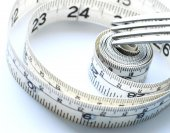 Vegetables and fruits for weight loss, a measuring tape, diet, weight loss — Stock Photo