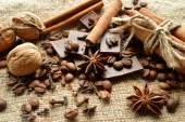 Cinnamon, chocolate, coffee, cloves, hazelnuts walnuts on sacking background — ストック写真