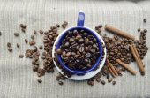 Cup full of coffee beans, cinnamon sticks, star anise, closeup — Stock Photo
