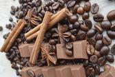 Chocolate, coffee, cinnamon, hazelnut, star anise — Stockfoto