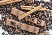 Chocolate, coffee, cinnamon, hazelnut, star anise — Stockfoto