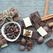 Bar of chocolate, coffee beans, hazelnuts, walnuts, cinnamon, coriander, spices .chocolate bar, candy bars,  different chocolate sweets on a wooden background — Stock Photo #66136193