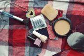 Latex condom and women cosmetics — Stock Photo