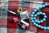 Condoms, cosmetics, women's beautician, protection — Stock Photo