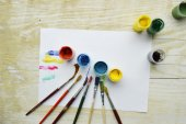 Painting, paint, brushes for painting, landscape paper, creativity on the wooden background — Stock Photo