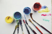 Painting, paint, brushes for painting, landscape paper, creativity on the wooden background — Stock fotografie