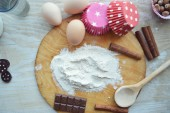 Ingredients needed for baking cupcakes — Stock Photo