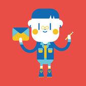 Character illustration design. Boy writing letter cartoon,eps — Stock Vector