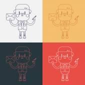 Character illustration design. Boy writing letter cartoon,eps — Cтоковый вектор