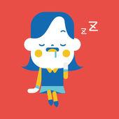 Character illustration design. Businesswoman dozing cartoon,eps — Stock Vector