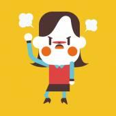 Character illustration design. Businesswoman angry cartoon,eps — Stock vektor