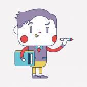 Character illustration design. Businessman writing cartoon,eps — 图库矢量图片