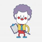 Character illustration design. Businessman writing cartoon,eps — Διανυσματικό Αρχείο