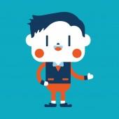 Character illustration design. Businessman joyful cartoon,eps — Stock Vector