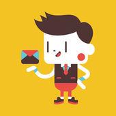 Character illustration design. Businessman sending letter cartoo — Stok Vektör