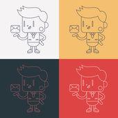 Character illustration design. Businessman sending letter cartoo — Stock vektor