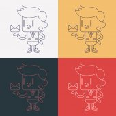 Character illustration design. Businessman sending letter cartoo — Διανυσματικό Αρχείο