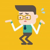 Character illustration design. Businessman having question carto — Stock vektor