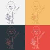 Character illustration design. Businessman using calculator cart — Stock Vector