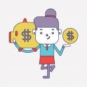 Character illustration design. Businesswoman saving money cartoo — Stock Vector