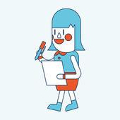 Character illustration design. Businesswoman writing cartoon — Vettoriale Stock