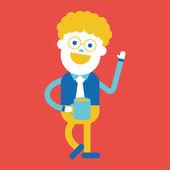 Character illustration design. Businessman drinking coffee carto — Stock Vector