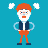 Character illustration design. Businessman angry cartoon — Stockvector
