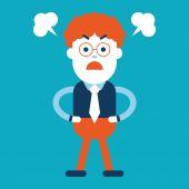 Character illustration design. Businessman angry cartoon — Stock vektor