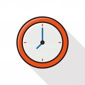 Clock line icon with long shadow — Stock Vector