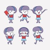 Character illustration design. Businesswoman set cartoon — Stock Vector