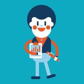 Character illustration design. Businessman writing cartoon — Stock Vector