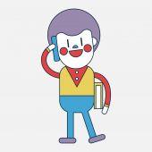 Character illustration design. Businessman using cell phone cart — Stok Vektör