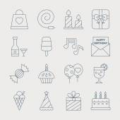 Birthday line icon set — Stockvektor